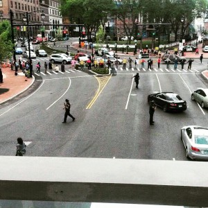 Black Lives Matter activists with Moral Monday CT interrupt rush hour in Hartford, June, 2015.
