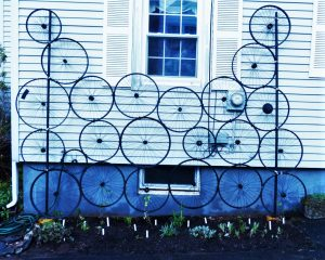 """Final Planting"" by Sharon Gresk (Bicycle wheels re-purposed as a trellis for climbing vines–a symbol of recovery!)"